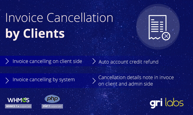 Invoice Cancellation by Clients for WHMCS